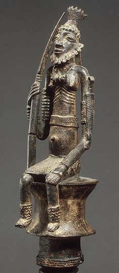 Mali - Dogon or Bozo Staff: Seated Male Figure (Metropolitan Museum of Art)