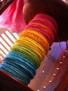 Beautiful Spinning Yarn. Oh, what beautiful colors.