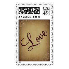 Vintage Paper Rustic LOVE Wedding Postage Stamps #Love #Vintage #Wedding #Postage #Stamp