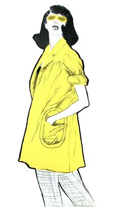 Fashion illustration by Rene Gruau, 1947, International Textiles. (image scanned by Magdorable)