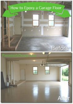 Adding Epoxy to a garage floor not only looks nice, but is easier to clean. – Building n Con… Adding Epoxy to a garage floor not only looks nice, but is easier to clean. – Building n Construction – Garage House, Diy Garage, Garage Signs, Garage Epoxy, Garage Doors, Clean Garage, Garage Office, Small Garage, Garage Shop
