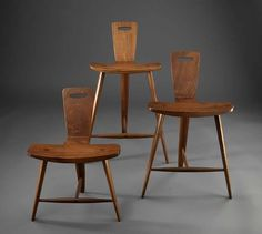 Tage Frid - three legged stool in three heights - Furniture designer, maker, educator - profound influence in American woodworking education - 1915-2004 - Primarily Wood