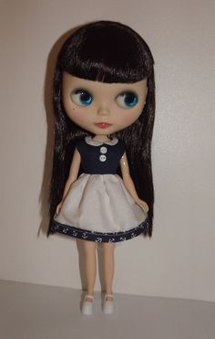 Cute sailor dress with collar for Blythe or Pullip by lolasample, $18.00