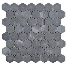 Crag Hexagon Black in. x 10 mm Slate Mosaic Tile GDXCHXB The Merola Tile Crag Hexagon Black in. x 10 mm Slate Mosaic Tile is a dramatically colored adaptation of a classic hex pattern. Stone Mosaic Tile, Mosaic Wall Tiles, Hexagon Tiles, Black Hexagon Tile, Marble Mosaic, Hex Tile, Cement Tiles, Glass Tiles, Tiling