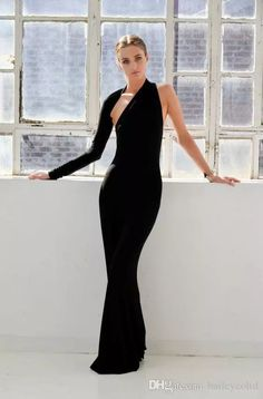 Fashion Black Long Sleeves Halter Formal Evening Dresses One Shoulder Mermaid Floor Length 2017 Spring Pageant Prom Cocktail Gowns Casual Evening Dresses Discount Evening Dresses From Baileycoltd, $60.31| Dhgate.Com
