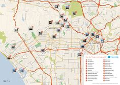 Free Printable Map of Los Angeles attractions.