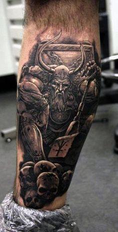 Battle Warrior Odin With Skulls Mens Lower Leg Tattoo Designs
