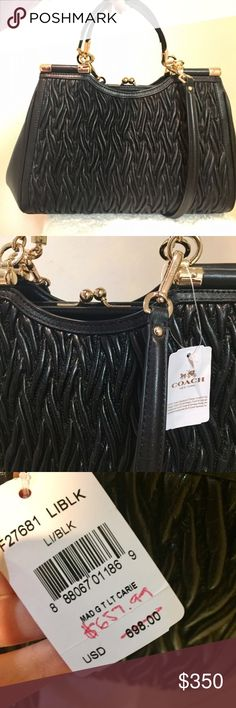 NWT: Coach Leather Bag Black cinched leather authentic Coach bag from flagship store. Reposting after a customer cancelled their order. Dimensions are 13x5x9 Coach Bags