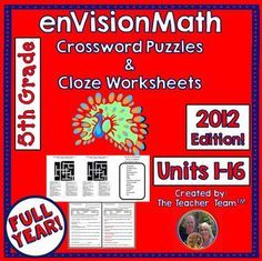 This bundle combines 2 products into 1 for a great value!.Do you have early finishers? Need something for small groups or centers?First, this bundle contains fifth grade CLOZE (fill in the blank) worksheets to teach, re-teach, practice, or assess vocabulary in the fifth grade enVision Math Common Core 2012 chapters 1 - 16, all chapters for the entire year.