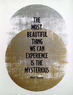 "Inspired: Crispy Bikinis 2014 FAITH // Albert Einstein ""Mysterious"" Letterpress Print, beautiful, experience, quote"