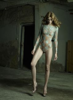 OUI MAIS NON Collection. Long sleeved body, beautifully revealing back, in special Chantilly lace.