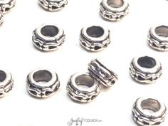 Carved Rondelle Beads, Pewter Metal Beads, Antique Silver Beads, 7x4mm, 4mm Big Hole Beads, Lead Free, Lot Size 12 TO 50, #1310 BH