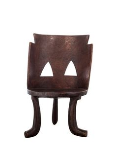 Vintage Ethiopian Wood Chair (Large) by SHINE by S.H.O on Gilt Home  Made from dark, aged wood  Measures 16 inches in depth by 21 inches in width by 31½ inches in height