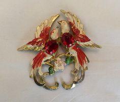 "2 3/4"" LARGE VINTAGE 1930s FRED GRAY ENAMEL FLOWER RED RHINESTONE TWIN BIRD PIN"
