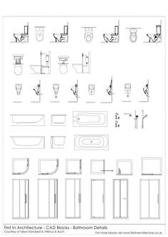 a selection of free cad blocks featuring bathroom details toilet sections urinal sections showers taps and more: architecture bathroom toilet