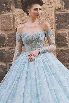 Beautiful blue lace tulle ball gown wedding dress