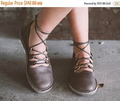 Sale 15%: Gray Shoes. Straps Leather Shoes.