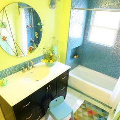 blue boys bathroom design | Childrens Bath--vibrant color, playful, glass tile, mirrors, vanity ...