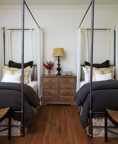 Pretty Twin Bedroom Light curtains accent the four poster beds. This twin bedroom features bedding House & Home designed with fabrics courtesy of Kravet and Primavera. Home Bedroom, Girls Bedroom, Bedroom Decor, Bedroom Storage, Bedroom Ideas, Upstairs Bedroom, Bed Ideas, Master Bedroom, Casa Hotel