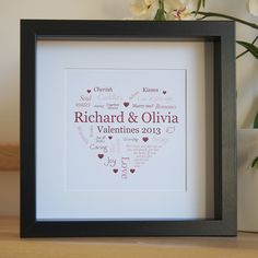 Personalised framed artwork for Valentines Day . So simple and sweet. Love this idea