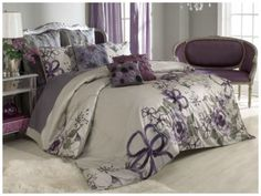 VUE Provence Girls Twin Duvet Set Shabby Chic Sheer Floral Anastasia Purple Gray #VUE #FrenchCountry