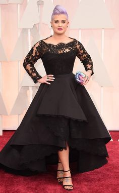 2015 Oscar Celebrity Dresses Kelly Osbourne Long Sleeve Plus Size Hi-Lo Black Red Carpet Gowns Formal Evening Gowns OS06