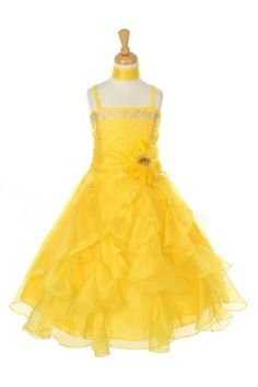 A gorgeous dress for your girl from Cinderella Couture brings out a glamorous flair. Dazzling two tone cascading dress features yellow crystal organza, silver rhinestone embellishment, a long ruffled skirt, spaghetti straps. A detachable matching flower a Pagent Dresses, Girls Dresses, Bridesmaid Dresses, Bride Dresses, Party Dresses, Wedding Dresses, Organza Dress, Ruffle Dress, Ruffles