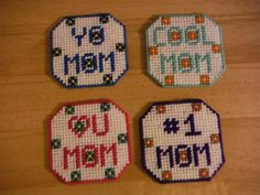 Mothers Day Coasters plastic canvas needlepoint by ShanaysCreation