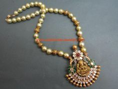 Nakshi Gold and Pearl Long chain with Designer Temple Jewellery Pendant | Latest Indian Jewellery Designs