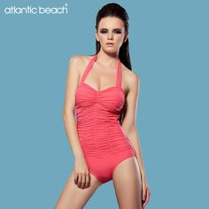 69.84$  Watch now - http://ali561.worldwells.pw/go.php?t=32672187551 - Atlanticbeach bathing suit one piece solid Halter women swimwear swimsuit push up plus size swimsuits maillot de bain monokini 69.84$