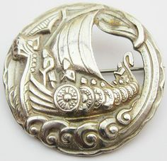 Vintage Robert Allison Scottish Silver Viking SHIP Large Celtic Brooch Pin | eBay