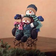 Image detail for -Snowmen and sled holiday decoration. Fabric snowmen; wood and metal ...