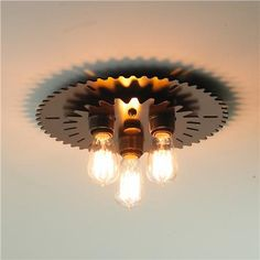 Industrial Metal Gear Flush Ceiling Light