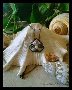 Natural seashell necklace mermaid pendant rose quartz collana