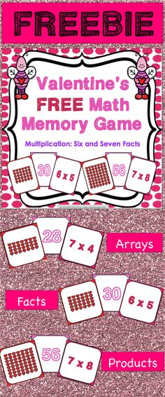 Valentine's Day Free: Valentine's Day free math game makes practicing six and seven multiplication facts fun! Included are 45 memory cards for students to match the multiplication array, multiplication fact, and product. This is a perfect activity for small groups and centers in February!