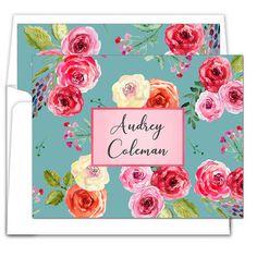 Sea Rose Foldover Note Cards