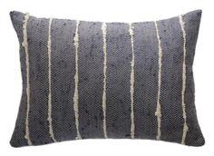 Grey Striped Raw Silk Pillow