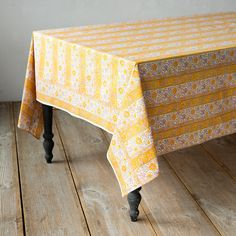 Cotton Block Print Tablecloth in House + Home Table Linens at Terrain