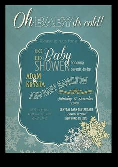 Printable Coed Winter baby shower by PaisleyDayneDesigns on Etsy, $12.00