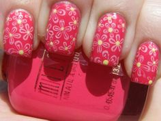 Milani Tropical Fiesta as the base color. I used OPI Alpine Snow to stamp on flowers from Bundle Monster plate BM-205 and a dotting tool to dot China Glaze Lemon Fizz into the centers of the flowers