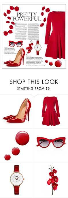 """""""red"""" by the-trail-of-stars ❤ liked on Polyvore featuring Christian Louboutin, WithChic, Topshop and Dolce&Gabbana"""