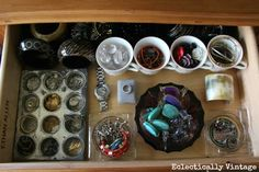Vintage Drawer Organization Ideas - pretty ways to organize any junk drawer! eclecticallyvintage.com