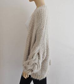 Beige Oversized Cardigan Chunky Cable Knit Jacket Hand Knitted e6c1e1d8b5