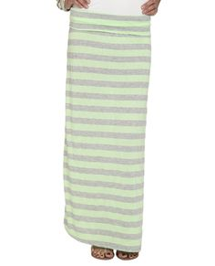 Striped Foldover Maxi Skirt - Maxi Skirts