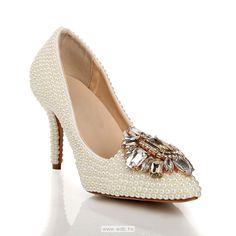 3.5 inch Ivory Pearls Leather shoes $52.98