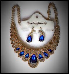 Acheter parure bohème collier et boucles d oreilles dorés, strass bleu  royal pas cher - acheter parure bijoux fantaisie petit prix. 831e77f5bb3e