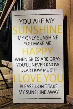 You Are My Sunshine Painted Wooden Sign Decoration