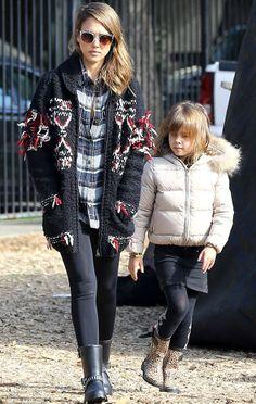 Jessica Alba wearing Isabel Marant for H&M Knit Cardigan Dav Seattle Rain Boots Paige Denim Kadie shirt in Amour Plaid