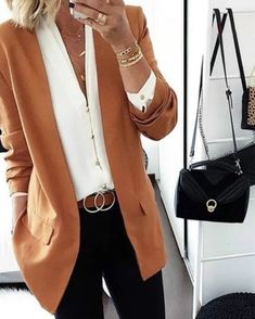 Brief Long Sleeve Pure Colour Loose Women Medium Blazer SKU Brand Name Onlylulu Material dacron embellishment Loose-Fitting Sleeve Long Looks Style, Looks Cool, Mode Outfits, Stylish Outfits, Office Outfits, Work Casual, Casual Chic, Smart Casual, Top Fashion