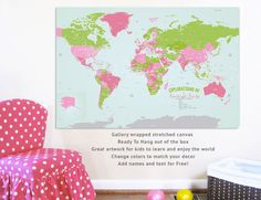 We love this gallery wrapped stretched canvas map from @urbantickle - such a great addition to a playroom!